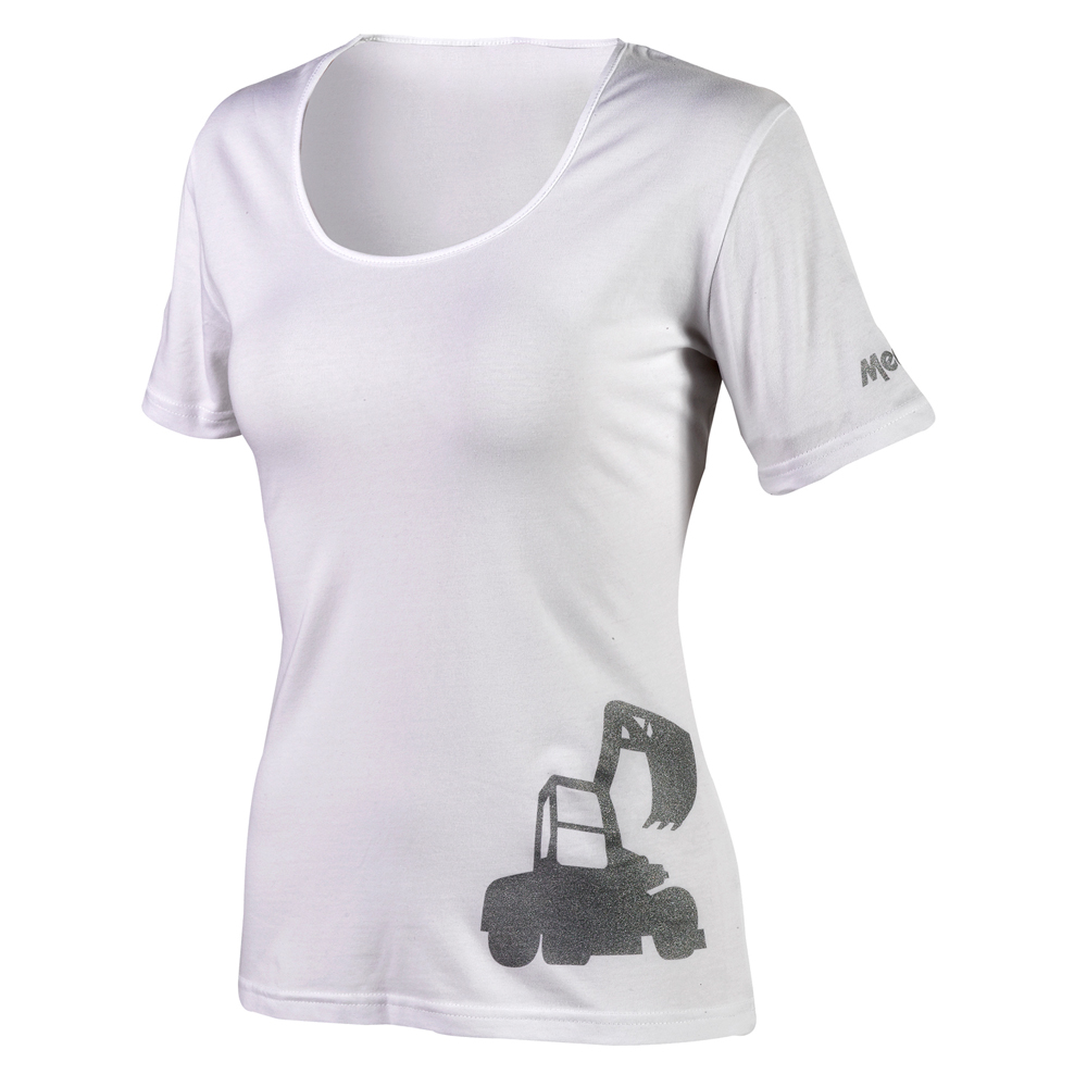 White t-shirt excavator/loader