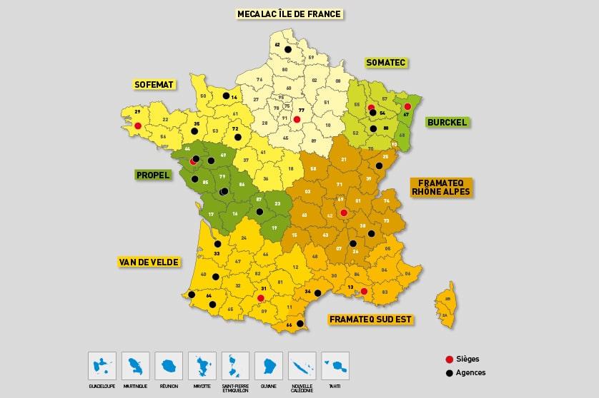 Nouvelle répartition des territoires au sein du réseau de distribution Mecalac pour l'Ouest de la France