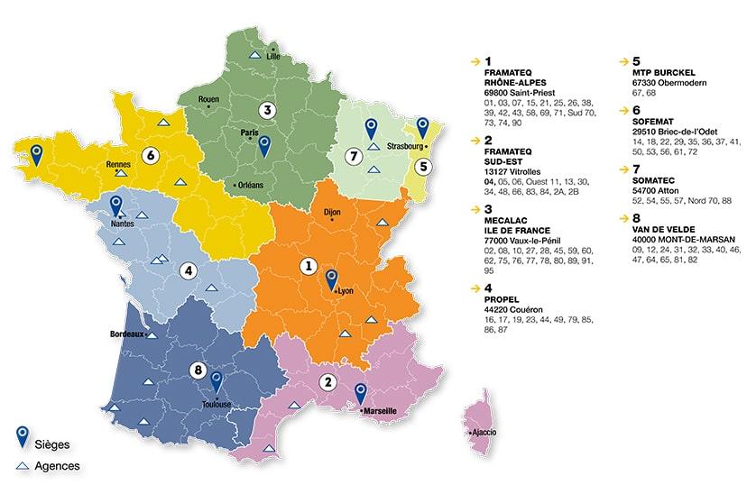 Evolution de la distribution V2V - Mecalac dans le Sud-Ouest de la France